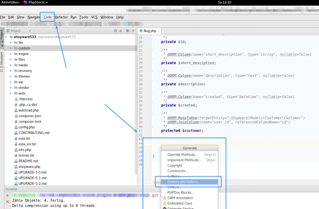 Phpstorm Code generate Setter and getter